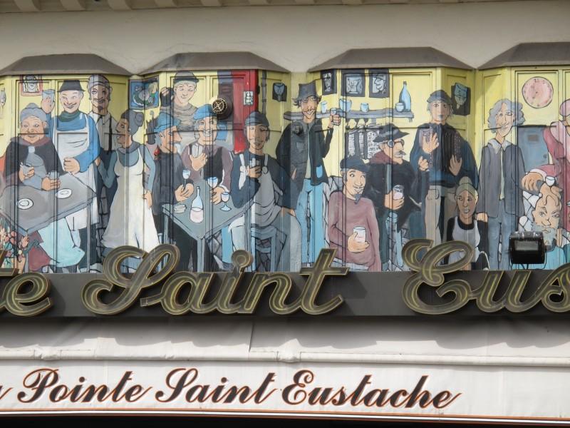 La Pointe Saint Eustache -kahvilan julkisivun maalauksia