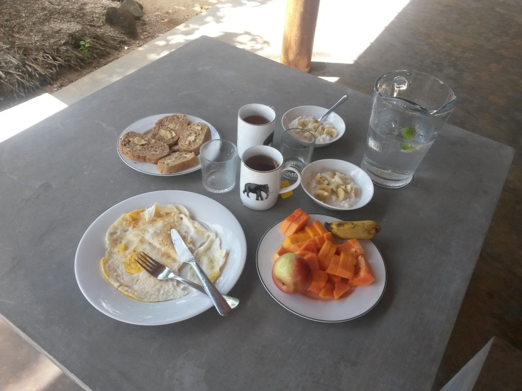 Our first breakfast: fried eggs, toast, fruits, yogurt, tea and lime water - maybe 100 rupees max