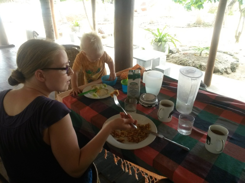 A lunch at home: fried egg, cucumber and milk for the wee one, masala omelet and tea for the grown ups - the milk costs around 180 rupees per litre, rest maybe 50 rupees