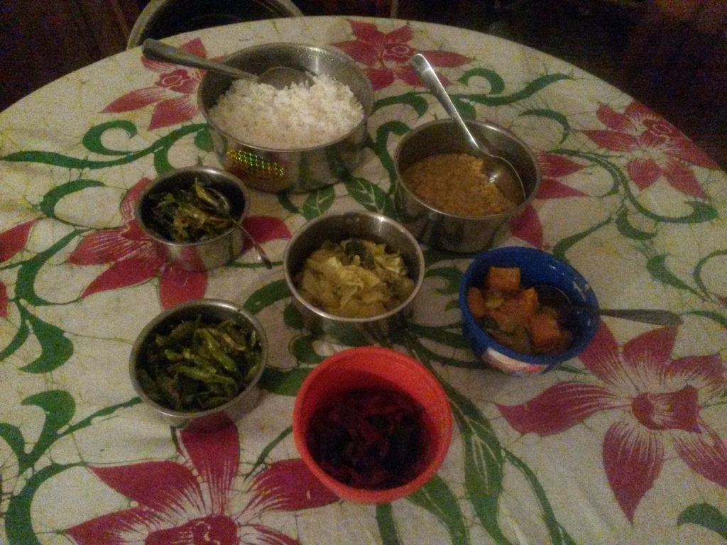 Yet another dinner at home enjoying Malani's excellent food. Again five curries, dal and rice.