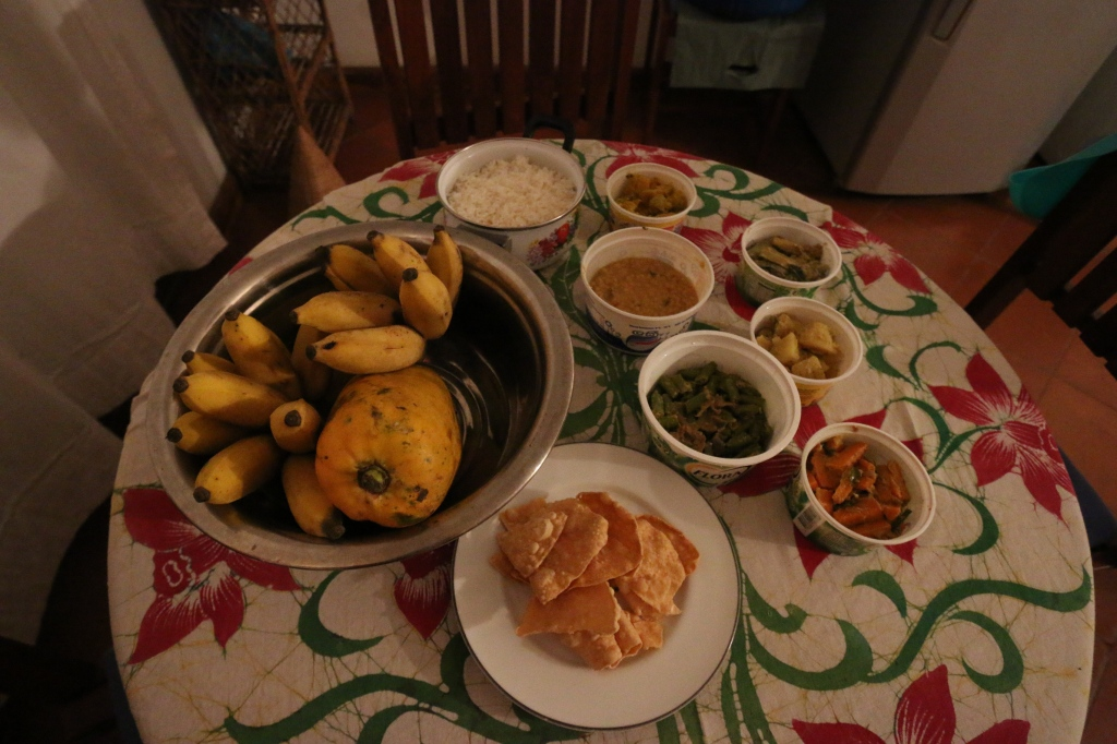 Our first Sri Lankan dinner on the night of our arrival: rice, dal, pappadam and FIVE different veg curries - it cost 1600 rupees for two to order dinner from the house maid delivered in the evening.