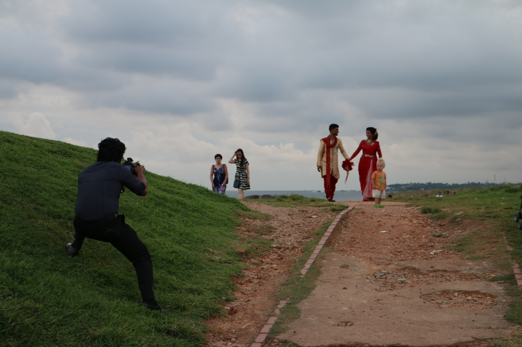 Eero photobombing a wedding photo shoot on the rampart