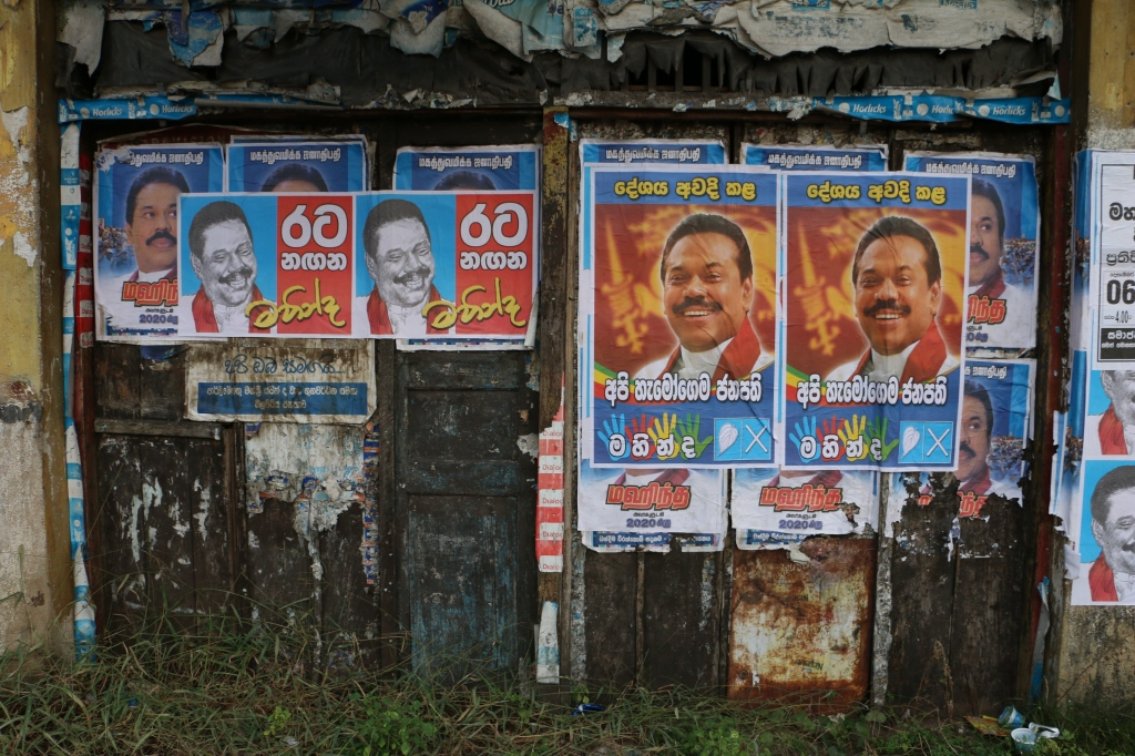 The presidential election is approaching, and judging by the posters there's only one candidate, incumbent Rajapaksa