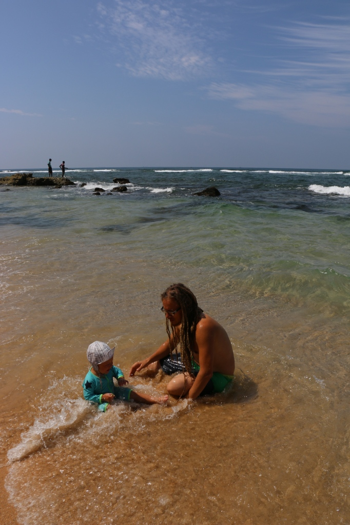 Becoming friends with the waves at Akurala beach