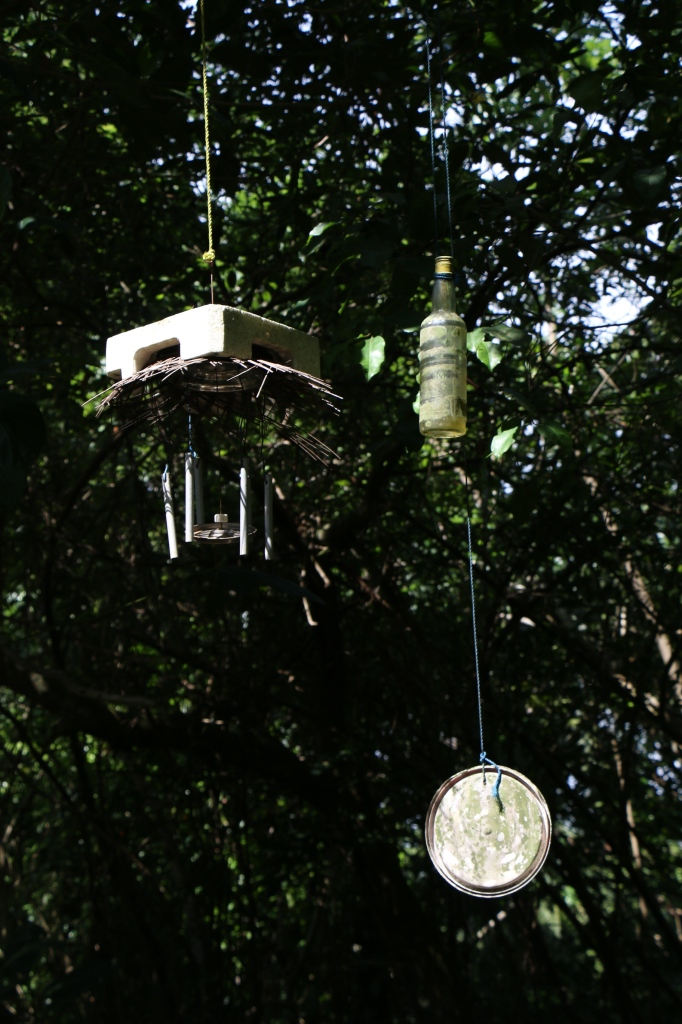 A wind chime in a remote little temple