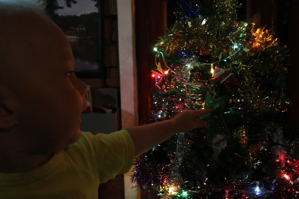 Many restaurants have colourfully decorated Christmas trees, which have kept Eero entertained through several dinners