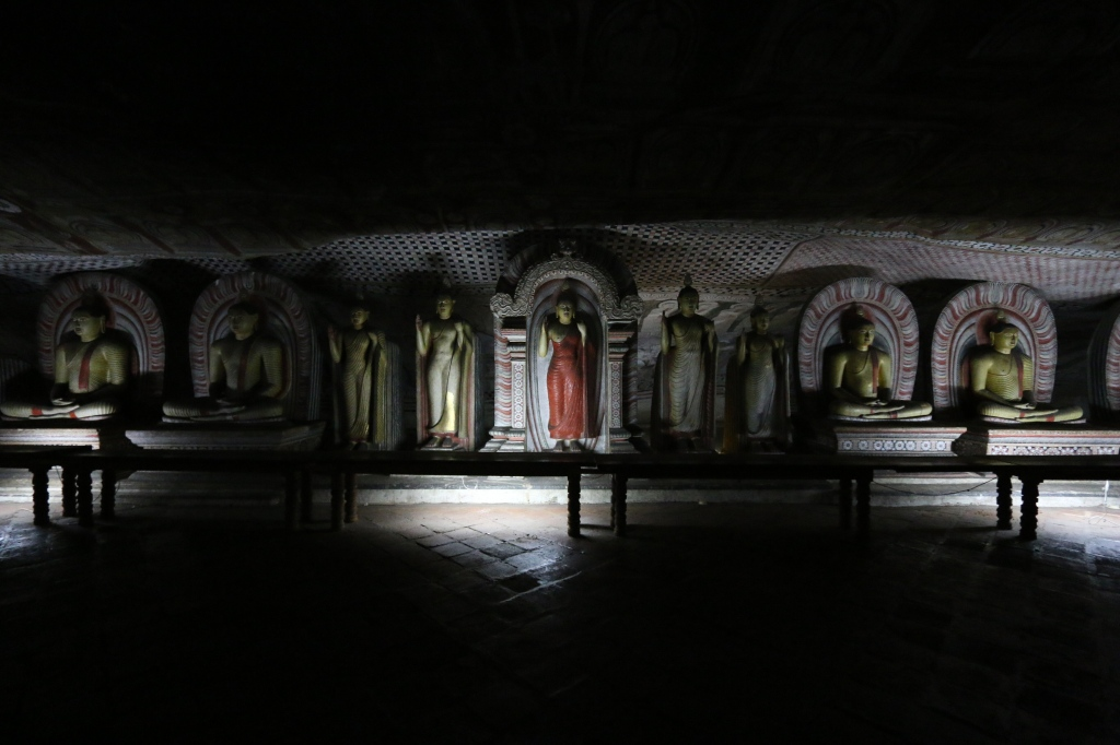 The Dambulla caves are lined with Buddha statues