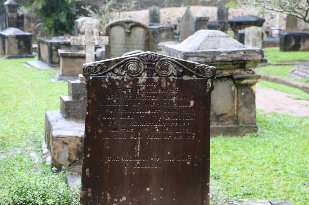 "Our Christmas walk took us to the atmospheric Garrison cemetery. 20-year-old George Baxter Wilson died in Kitoolamoola in 1865 from ""remittent fever""."