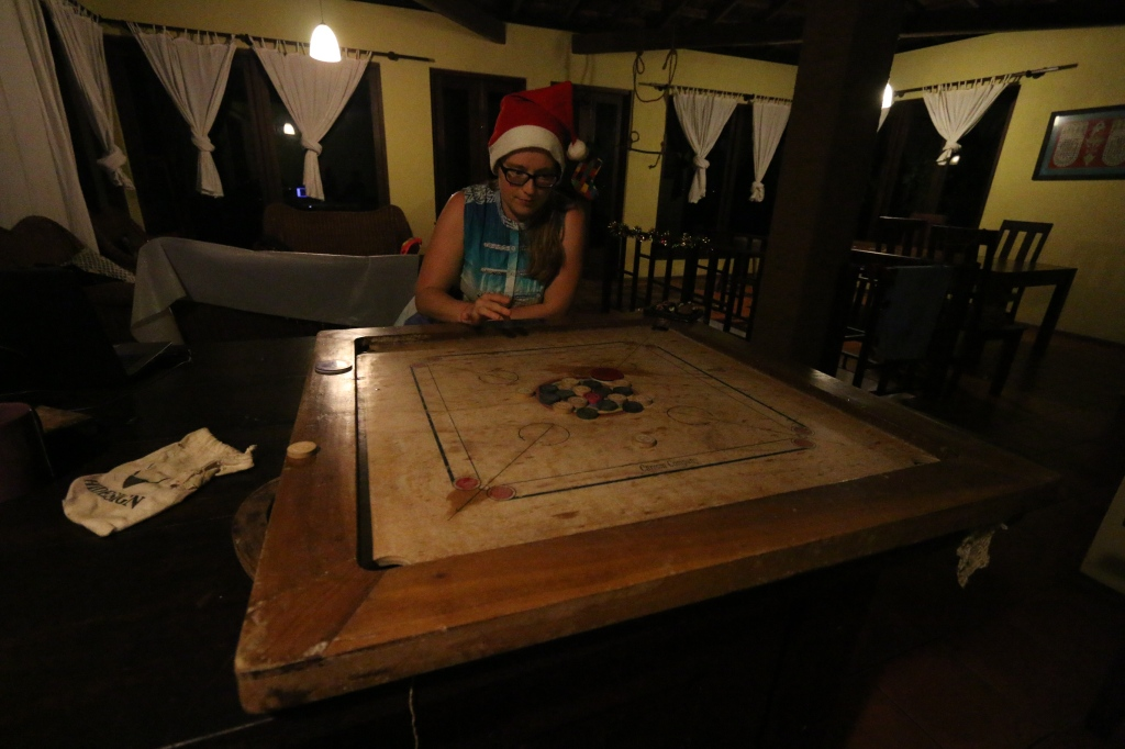 Christmas night called for a game of carrom. Ever since spotting the game through the bus window years ago, we've wanted to give it a go but haven't been able before. Great fun!