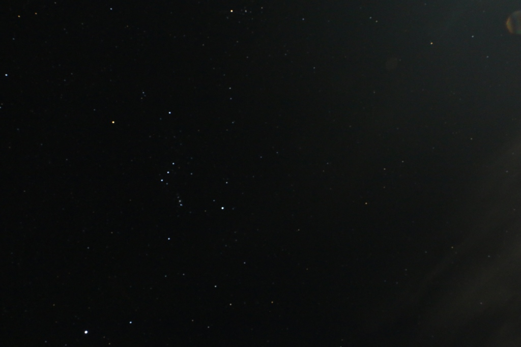Orion's belt clearly visible in the starry sky