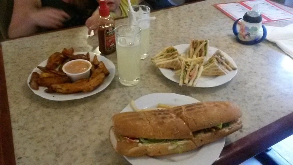 Again at our local restaurant. Veg club and superb chips at the back and veg submarine or  sub at the front. All very delicious.