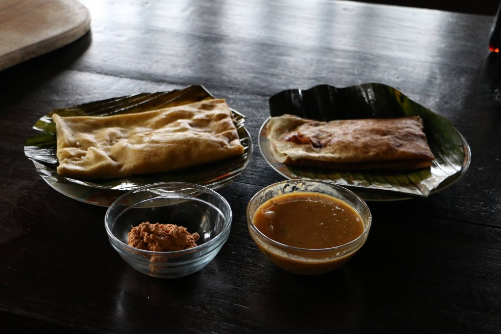 The best dosas we had. One is masala dosa and other is onion dosa. Usually they are served with some gravy which you dip in or coconut sambol around here.