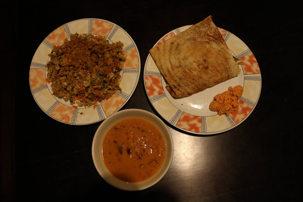 Another version of the masala dosa on the right. On the left is the Sri Lankan kottu which is basically a mix or different vegetables fried with spices. Simple but very delicious.