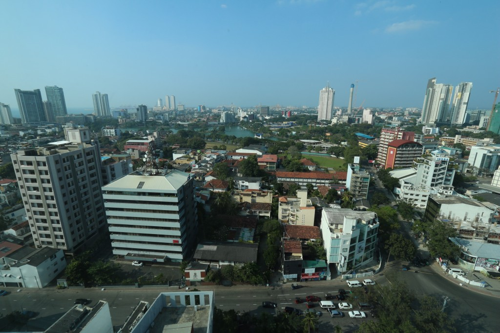 The view from our room. The tall buildings at the back are in the Colombo Fort area. On the right you can see the Colombo Lotus Tower being built. When ready it should be 350m high.