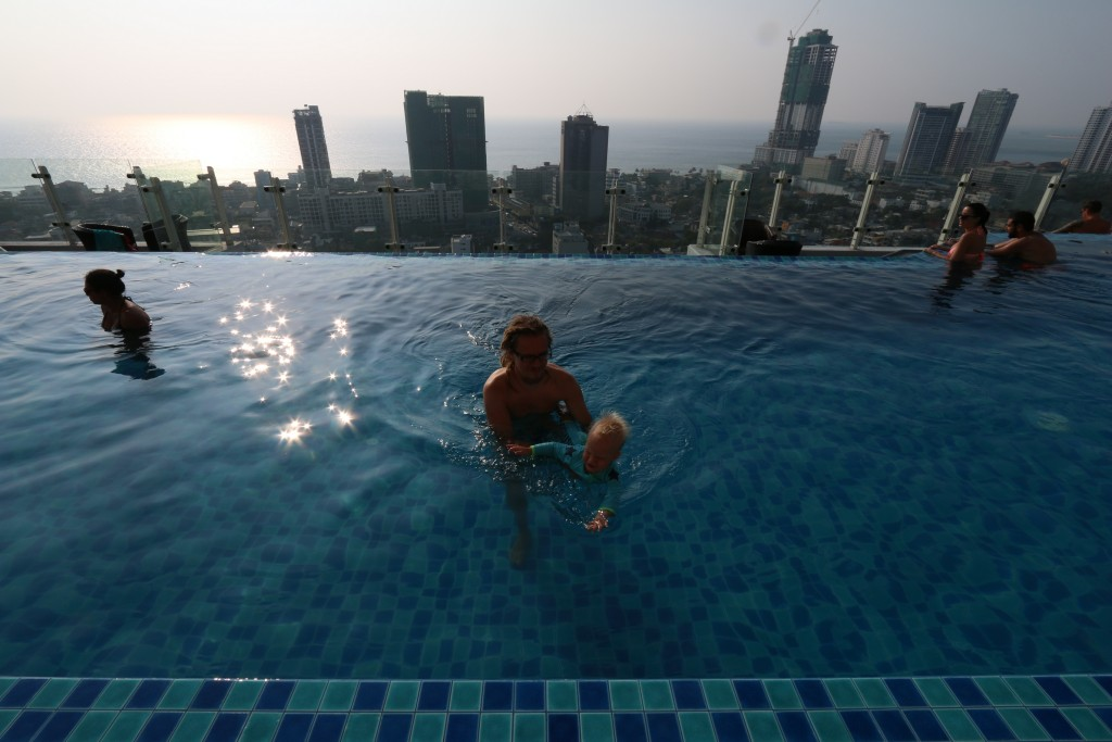 Our hotel had an infinity pool at the top. Never been in one before.