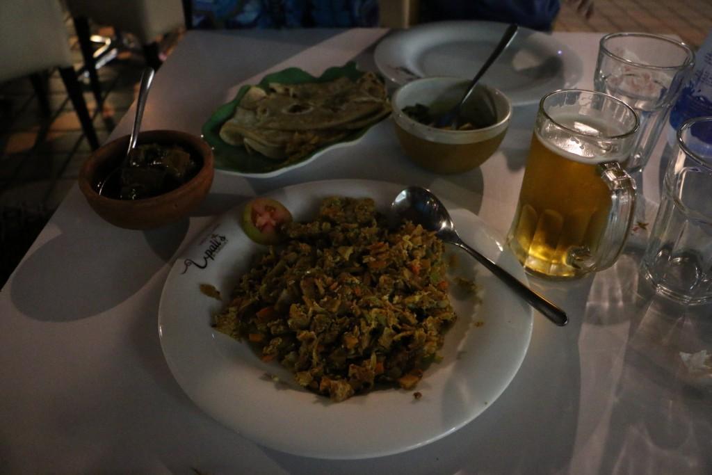 Our last Sri Lankan dinner: some kottu roti and jackfruit curry. Not the best one's we'd had but perfectly satisfactory.